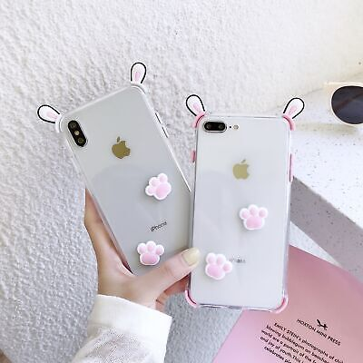3D Bunny Ears Case For IPhone 11 Pro Max XR XS Max 8 7 Plus Pink White Back Case • 3.66£