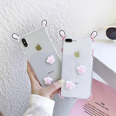 3D Bunny Ears Case For IPhone 11 Pro Max XR XS Max 8 7 Plus Pink White Back Case • 5.48£