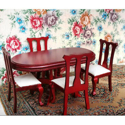 Dolls House Kitchen Furniture Rosewood Dining Room Table Chairs Set 1/12 Scaled • 12.34£