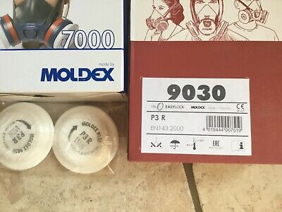 Moldex 7003 Series 7000 LARGE  Half Face Mask With 4 X P3 Filters NEW • 35£