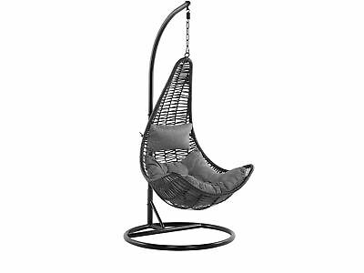 Wicker Hanging Egg Chair With Stand Swing Seat Black PE Rattan Atri • 519.99£