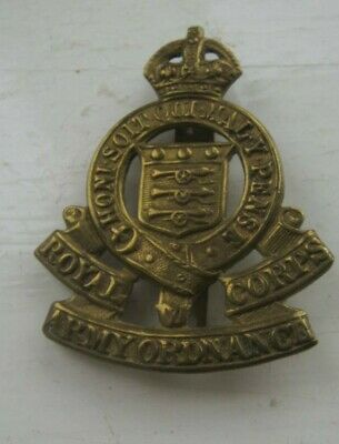 VINTAGE ROYAL ARMY ORDNANCE CORPS  Brass Cap Badge  Slider CLEAN TIDY LOOK • 4£