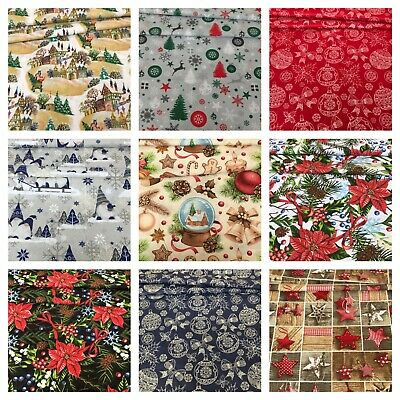 £3.50 • Buy Christmas Fabric By Metre Or Fat Quarter  2021 New Patterns  100% Cotton Fabric