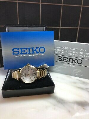 Ladies Gold Plated Seiko Solar Wrist Watch SUT158P1, RRP £229 • 135£