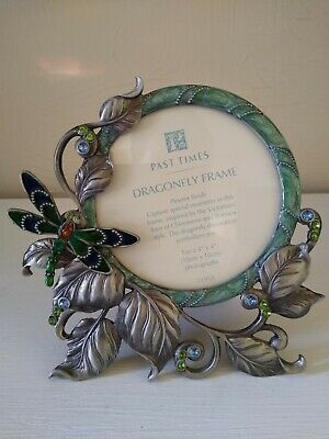 Past Times Rococo Style Dragonfly Photo Frame Enamel And Jeweled Pewter Finish • 20£