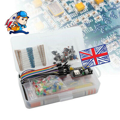 Electronic Component Starter Wires Breadboard LED Buzzer Transistor Resistor Kit • 10.45£