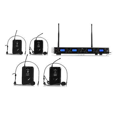 Wireless Microphones Set Studio Mic 4x Headset 4-Channel System Receiver UHF • 179.99£