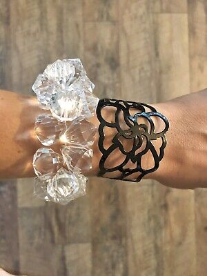 $ CDN14 • Buy LOT OF 2: LIA SOPHIA Crystal Elastic & Black Flower Bracelet