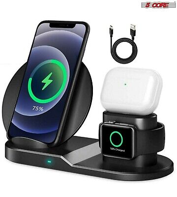 $ CDN26.77 • Buy 5 Core 3in1 Qi Wireless Fast Charger Dock Stand For Apple Watch Air Pods IPhone