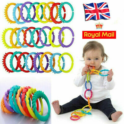 6X Rainbow Teether Ring Links Plastic Baby Kids Infant Stroller Gym Play Mat • 2.39£