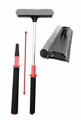 Telescopic Window Cleaning Squeegee Blade Extendable Pole Wash Sponge Cleaner • 4.79£