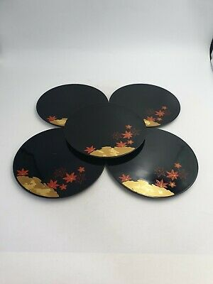 Japanese Black Lacquer Ware Round Table Place Mats Gold Red Flowers 5pc Set • 26.99£