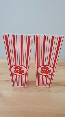 Set Of 2Hard Plastic Tall Popcorn Cup 9cm X 5.5cm Ideal For Movie Time • 8£