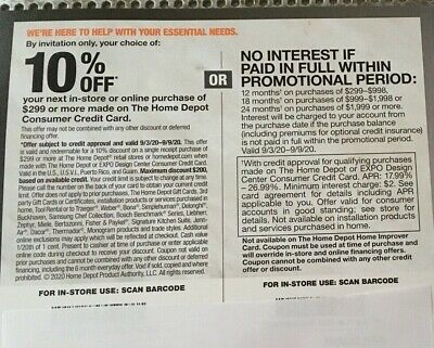 $35 • Buy Home Depot Coupon 10% Off Valid Now Through 10/7/20