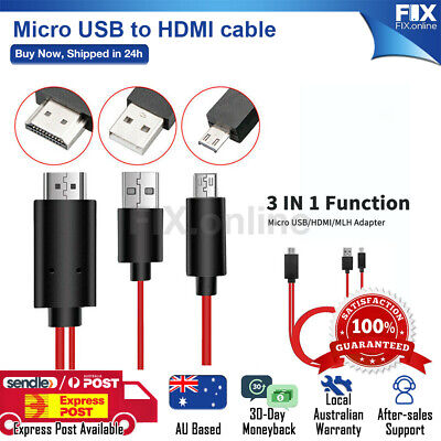 AU17.88 • Buy MHL 11Pin Micro USB To HDMI 1080P HD TV Cable Adapter For Android Samsung Phone