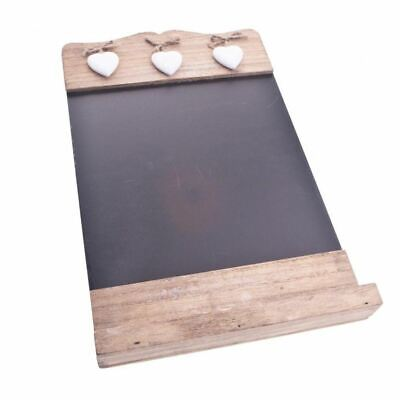 Rustic Wooden Black Chalk Board With 3 White Hearts • 12.97£