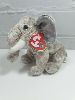 TY Beanie Babies POUNDS The Elephant March 30th 2002  With Ear Tag • 8.99£