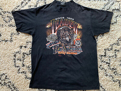 $ CDN53.61 • Buy VTG Harley Davidson 3D Emblem Leader Of The Pack Mens Short Sleeve T-Shirt -XL