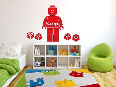 Lego Wall Stickers Personalised Boys Name Bedroom Art Decal Stikers • 13.89£
