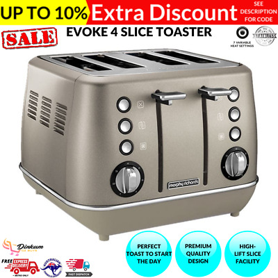AU89.05 • Buy Morphy Richards Evoke Stainless Steel 4 Slice Toaster Removable Tray Platinum