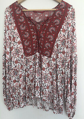 AU20 • Buy TIGERLILY Chic Trending Peasant Shirt/Blouse, Size 14 - Free Postage