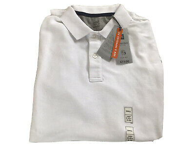 ExMARKS AND SPENCER WHITE SLIM FIT POLO SHIRT SIZE SMALL • 4.50£