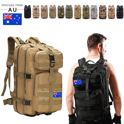 AU35.14 • Buy 30L/35L/40L Outdoor Military Rucksack Tactical Backpack Camo Hiking Camping Bag
