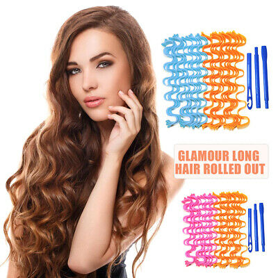 24X 50CM Magic Long Hair Curlers No Heat Wave Rollers Spiral Styling Tool + Hook • 9.52£