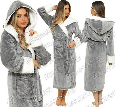 £16.95 • Buy LADIES DRESSING GOWN SOFT AND COSY HOODED WARM FLEECE ROBE NEW Sizes 8 - 22