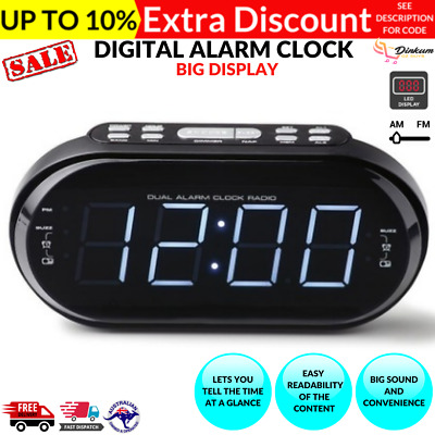 AU44.50 • Buy Big Display LED Digital Alarm Clock Radio Digital AM FM Snooze Dimmer 20 Presets