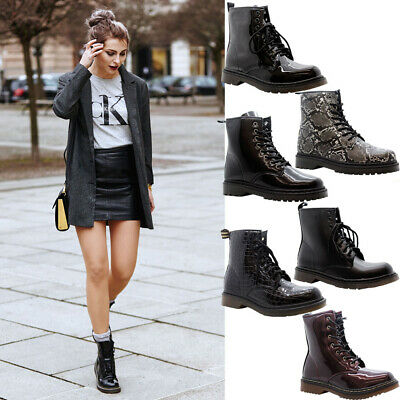 £21.95 • Buy Women New Lace Up Ankle Boots Ladies Chunky Platform Goth Punk Grunge Shoes Size
