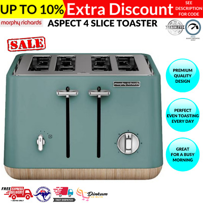 AU98.95 • Buy Morphy Richards Aspect 4 Slice Toaster Removable Crumb Tray Scandinavian TEAL