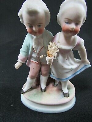 Antique Hand Painted Bisque Figure Of Two Children C.1900 • 18£