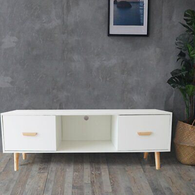 AU99.99 • Buy Entertainment TV Unit Stand Side Table Cabinet 2 Doors  Living Lounge White