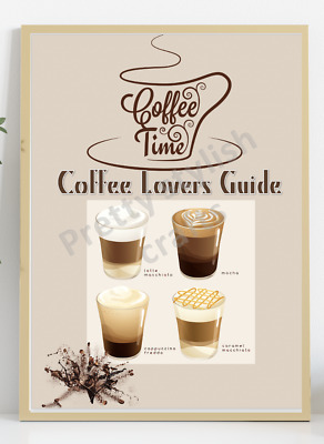 £5.69 • Buy Kitchen Wall Art Print Guide Coffee Lover Cafe Style Home Decor Picture Art UK