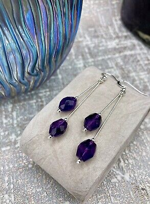 Gorgeous Amethyst Handmade Earrings Drop Purple Genuine 925 Sterling Silver • 9.99£