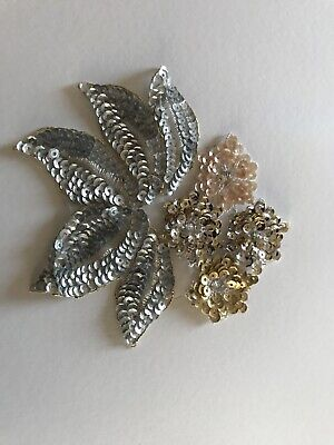 Applique Sequin Flower Motif Haberdashery Embroidery Silver Gold Blush • 10£