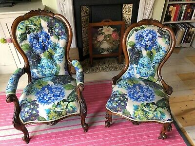 Pair Of Victorian Walnut Carved Button Back Chairs In Designers Guild Fabric • 725£