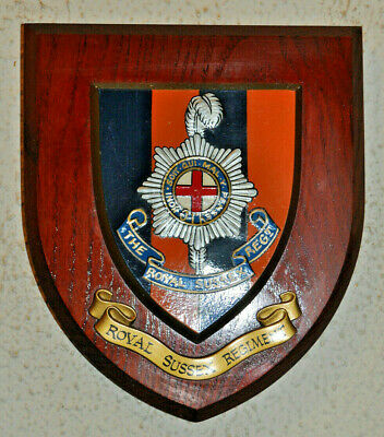 Sussex Regiment Regimental Mess Wall Plaque Shield • 30£