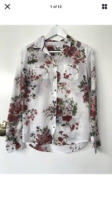 AU19 • Buy Massimo Dutti 38 (10) White Cotton Blouse With Floral Pattern