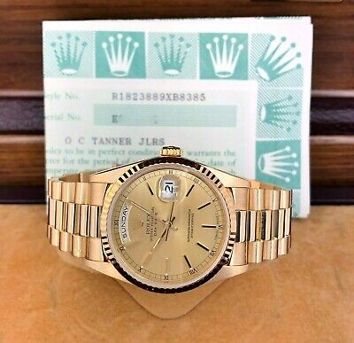 $ CDN21764.39 • Buy Rolex Day Date President 18K Yellow Gold 36mm Watch 18238 Factory Dial BoxPapers