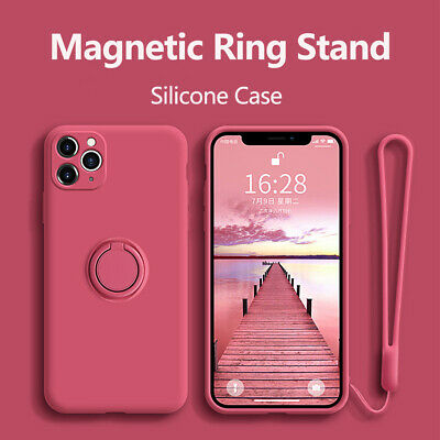 For IPhone 11 Pro Max SE 7 8 XR Ring Stand Case Shockproof Liquid Silicone Cover • 5.73£