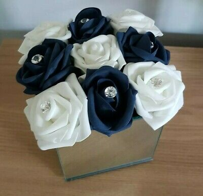 Artificial Blue And White Flowers Arrangement In Mirror Cube Vase 10cm • 19.99£