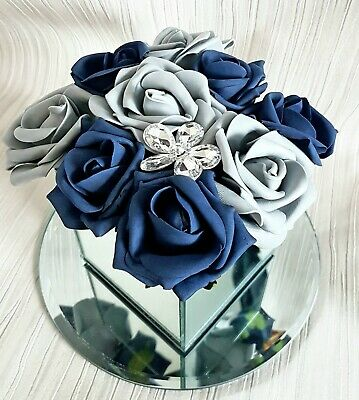 Artificial BLUE AND SILVER FLOWER ARRANGEMENT IN MIRROR CUBE GLASS VASE Hat Box • 19.99£