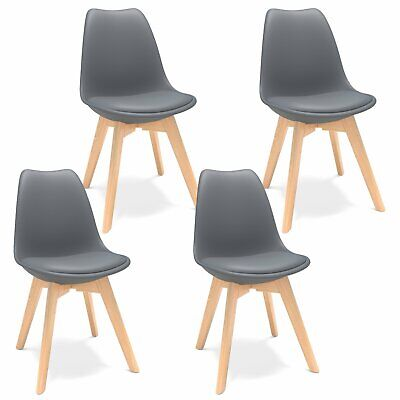 AU113.99 • Buy Set Of 4 Modern Dining Chairs Side Chair With Beech Wood Legs And Soft Padded