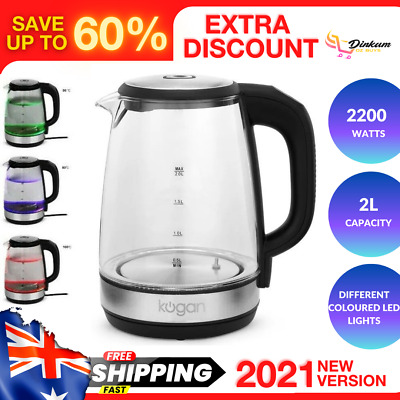 AU49.45 • Buy 2L Electric Cordless Glass Kettle Colourful LED Lights Keep Warm BPA Free 2200W
