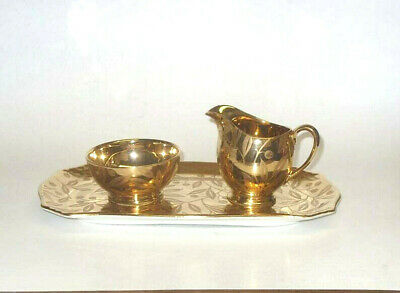 $ CDN80 • Buy Royal Winton Grimwades Temple Gold Vintage Rare Cream Sugar Bowl Tray Set