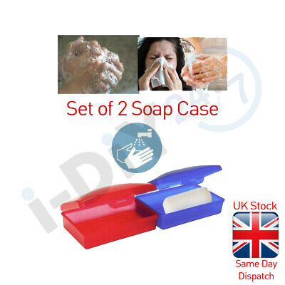 2PC Soap Dispenser Dish Case Holder Container Box For Bathroom Travel Carry Case • 1.99£