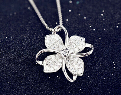 Clover Crystal Pendant 925 Sterling Silver Chain Necklace Women Ladies Jewellery • 3.29£