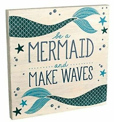 NEW Be A Mermaid And Make Waves Wooden Sign Plaque 12  X 12  Beach Ocean Decor  • 15.91£